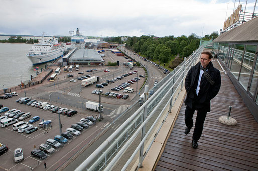 Mikko Aho, Helsinki's planning director and a judge in a design competition for a proposed Guggenheim satellite, surveying the museum's potential site. Credit Touko Hujanen for The New York Times