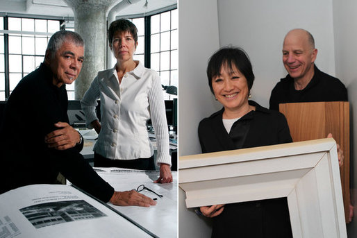 The architects Ricardo Scofidio and Liz Diller, left, urged razing the American Folk Art Museum building, which was designed by another architect duo, their longtime friends Billie Tsien and Tod Williams, right. LEFT, JOE FORNABAIO FOR THE NYT; RIGHT, CHESTER HIGGINS JR. / THE NYT