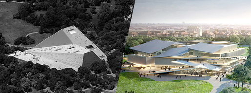 National Gallery and Ludwig Museum first-rank proposals - Left: Snøhetta AS (Image: tmrw.se) | Right: SANAA (Image courtesy of Liget Budapest Design Competition)