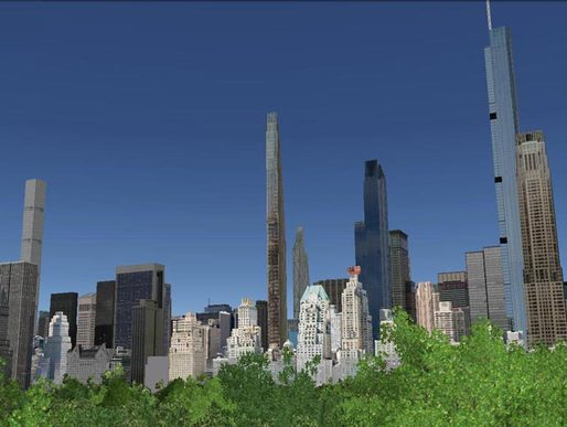 "New York skyline with ""supertall"" skyscrapers if proposed buildings are completed. Credit: NY Yimby"