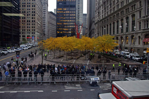 Occupy Wall Street, Day 60, November 15, 2011, after the police evicted protestors and cleaned the park. [Photo by David Shankbone]
