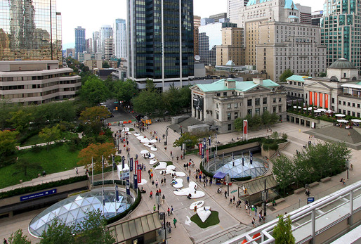 Aerial view of Pop Rocks installed on Vancouver's Robson Street; design by Matthew Soules Architecture and AFJD Studio (Amber Frid-Jimenez & Joe Dahmen). Photo: Krista Jahnke