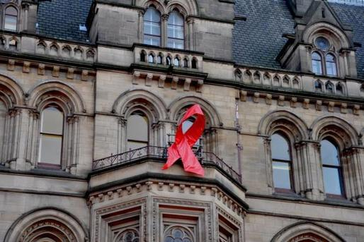 Manchester Town Hall was adorned with an AIDS ribbon to mark World AIDS Day in 2010. Photo: Jennifer Boyer