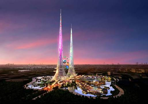 CGI projections of what the £1.2bn project will look like show two solar-powered Eiffel Towers emerging in blazing colour from one of Wuhan's many lakes (The Independent; Rendering: Chetwoods)