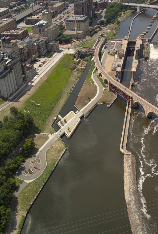 Aerial view of the Water Works site by the St. Anthony Falls, the Mississippi River's only true waterfall (Image courtesy of Minneapolis Parks Foundation)