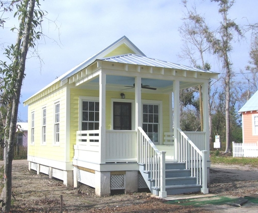 One of the outfitted and installed Katrina Cottages (photo via Daily Kos).