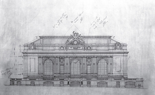 Grand Central Terminal elevation drawing, Warren &amp; Wetmore and Reed &amp; Stem c. 1910 (Courtesy of New York Transit Museum)