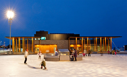 Skating rink with fire place in front of the Water Garden Pavilion