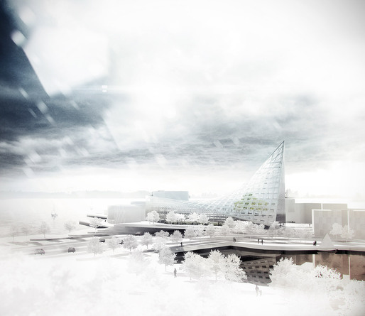 Winner of the Finnish student design competition for a new landmark building in the Koivusaari area of Helsinki: &quot;Fokka&quot; by Arto Ollila (Image: Arto Ollila)