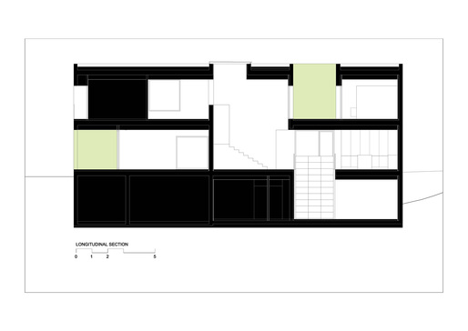 Longitudinal section, courtesy of Bojaus Arquitectura.