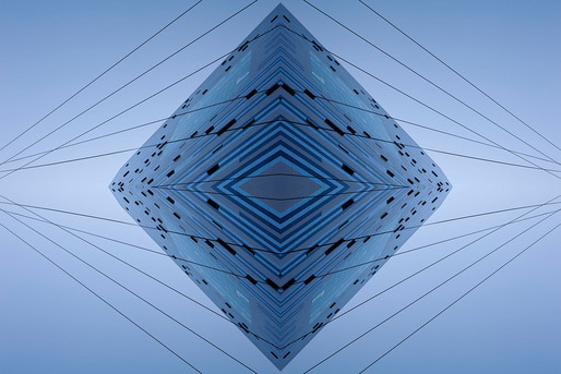 "The Blue Diamond, by Aaron Yassin, 27"" x 40"", C-print, mounted to aluminum and reverse-mounted to plexiglass, 2012"