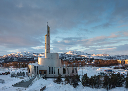 Exterior photo of the new Cathedral of the Northern Lights in Alta, Norway, designed by schmidt hammer lassen architects in cooperation with Link Arkitektur (Photo: Adam Mrk)