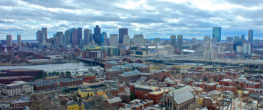 Boston skyline viewed from the Bunker Hill Monument. Photo via Wikipedia