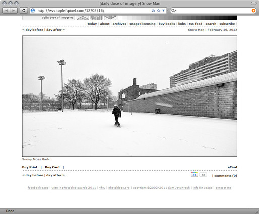 Screenshot of Sam Javanrouh's award-winning photoblog Daily Dose of Imagery