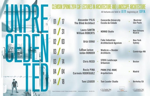 Spring '14 Architecture and Landscape Architecture Lectures at Clemson School of Architecture. Image via clemson.edu