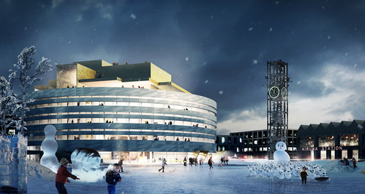 Night view of the competition-winning entry for the new city hall in Kiruna, Sweden by Henning Larsen Architects in collaboration with Tema Landscape Architects Sweden, WSP Engineers Sweden and UiWE Cultural Designers. Illustration: Henning Larsen Architects