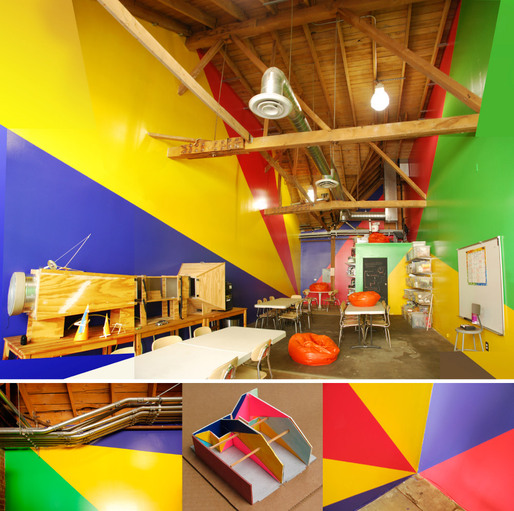 Childrens Science Studios Paint Design. (Iridescent, Downtown LA, 2011) Big geometries and bright colors to fit the use (children making things during short periods of time) and the complex ceiling/space context.