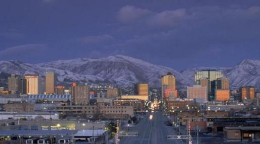 The Salt Lake City skyline. (Brian Bahr/Getty Images via marketplace.org)