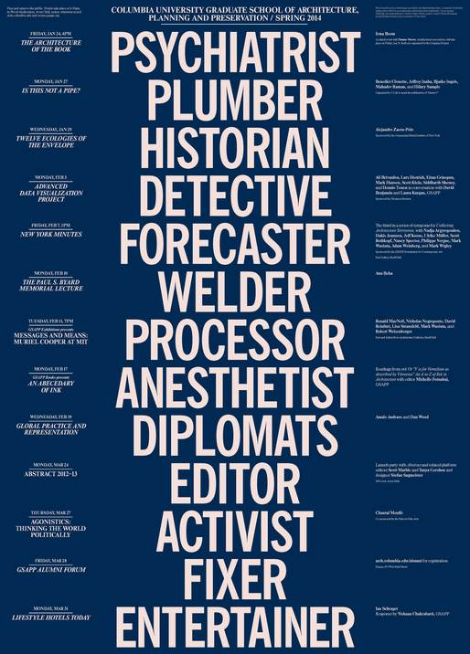 Columbia GSAPP Spring '14 Lecture Events poster. Image via arch.columbia.edu