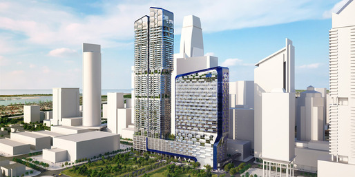 Rendering of the new UIC building, V on Shenton, in Singapore, designed by Ben van Berkel / UNStudio (Image: UNStudio)