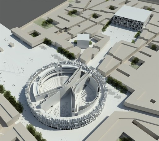The winning proposal by Assemblage that has been abandoned in favor of Hadid's secretive designs. Credit: Assemblage
