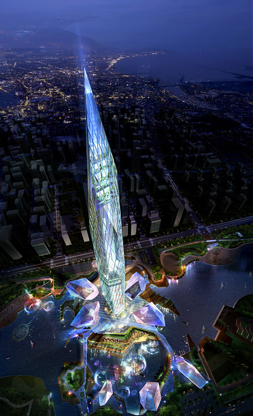 Rendering of the Eco Prism concept for the Cheongna City Tower competition by GDS Architects (Image: GDS Architects, CG: Rayus)
