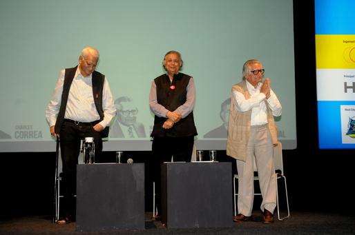 Charles Correa, Raj Rewal and Mahendra Raj. Image courtesy of Z-Axis.
