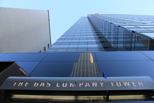 Reflection off the façade of the Gas Company Tower. Image © 2013 Al-Insan B. Lashley Design.