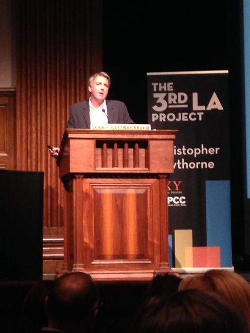 Christopher Hawthorne at the 3rd LA discussion of LACMA. Photo by Amelia Taylor-Hochberg.