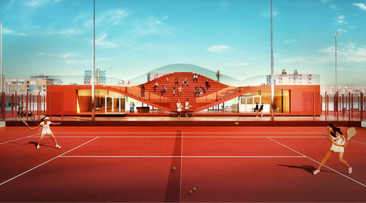 The Couch by MVRDV for Amsterdam tennis club IJburg. Image: MVRDV