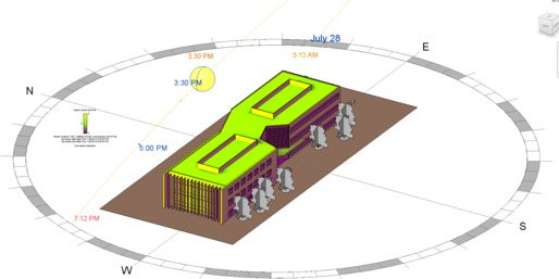 An example of solar analysis used to make early design decisions based on verified energy analysis data.