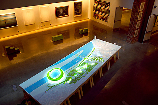 Aerial photo of complete model