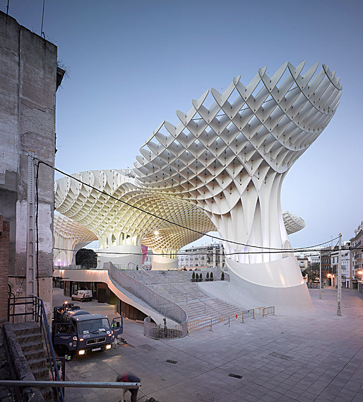 The completed Metropol Parasol on Seville&amp;#39;s Plaza de la Encarnacon. Photo: David Franck