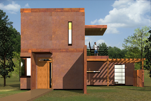The tiny Corten Cottage, featuring Corten® steel on the exterior.