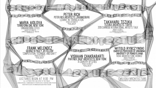 Poster for the Fall '13 lecture series at Carnegie Mellon University School of Architecture. Image from cmu.edu/architecture.
