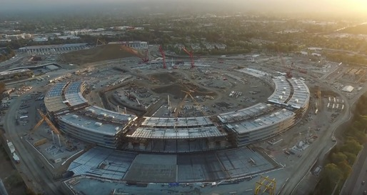 """Screenshot of Duncan Sinfield's drone footage showing the current status of the Apple """"spaceship"""" campus. Image via YouTube."""