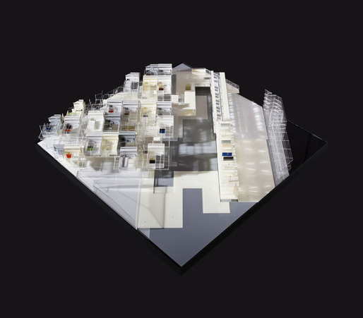 Architectural model, plan view, for Visible Weathers Simultaneous City project for Temple Terrace, Florida. Photograph courtesy of James Ewing.  2011 James Ewing
