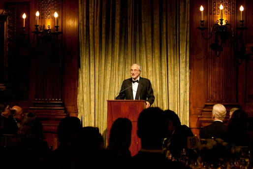 Renzo Piano accepting the President's Medal at the award dinner in New York City, April 9, 2013 (Photo  Joan Cuenco)