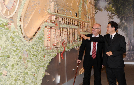 Chief Secretary and West Kowloon Cultural District Authority Board Chairman Stephen Lam (right) and the authority's CEO Michael Lynch on October 3, 2011 inspecting the cultural district project's development plan. (Photo courtesy of Hong Kong Information Services Department)