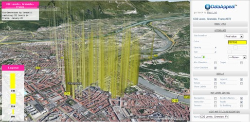 DataAppeal Application showcasing datascape of CO2 Levels, in Grenoble France, rendered in light yellow spiky model. Data Source: Sensaris Eco-Senspod, Senaris France.