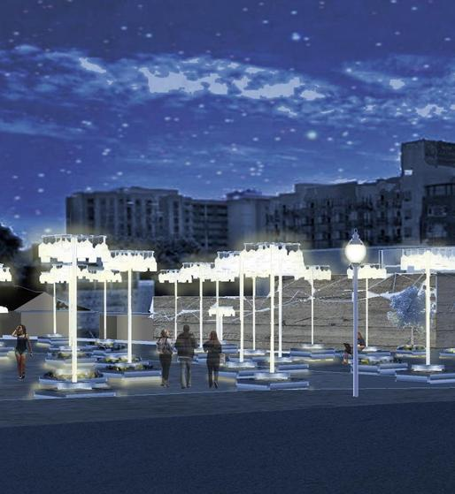 This rendering for an urban park in San Diego was created by NSAD architecture students Greg Tatham, Jimmy Van Vo, Stephen J. Cornelius and Richard Fuller. The team is among four that will be presenting their designs before San Diego's East Village Association.