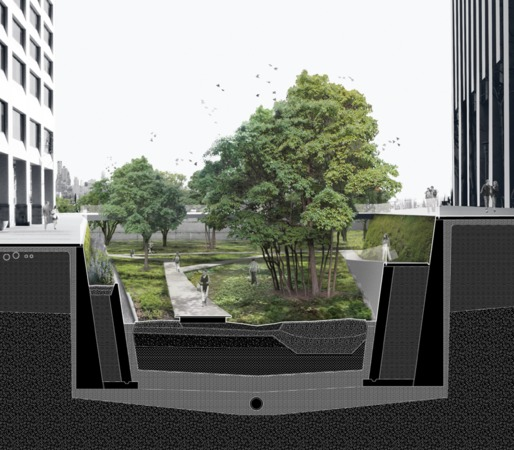 An architectural rendering of Sponge Slip, a proposed sunken park that would absorb flood waters in the event of a hurricane like Sandy that hit Lower Manhattan. Design firms Dlandstudio and ARO collaborated on this proposal for a Museum of Modern Art show called Rising Currents.