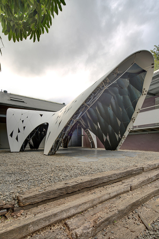 "AR-MA's ""Trifolium"" digital pre-fab pavilion at the Sherman Contemporary Art Foundation in Sydney. Photo: Brett Boardman."