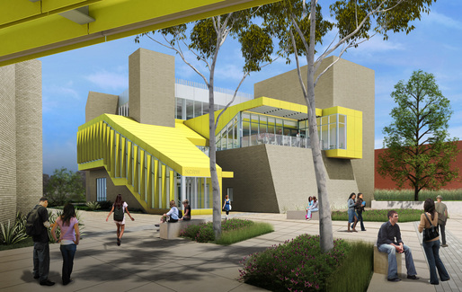 Exterior view of the new Media Center. Rendering courtesy of KCRW.
