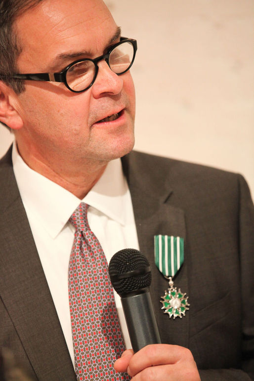 Rick Bell with the Ordre des Arts et des Lettres medal in 2013. Photo via frenchculture.org.