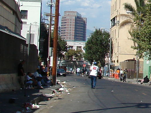 Los Angeles' skid row contains one of the largest stable homeless populations in the US. Credit: WikiCommons