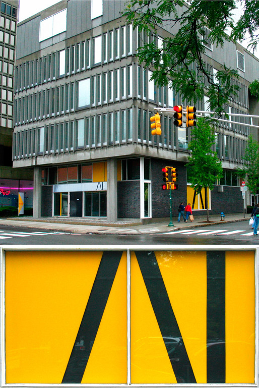 Art Interactive Gallery Facade/Signage/Landscape. (Cambridge, MA, 2004) Result of winning an international design competition. The black areas roll up so you can look inside.