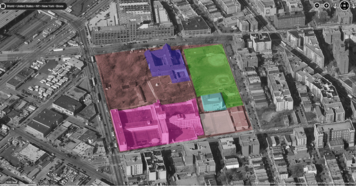 Competition building site (in Magenta) located in Hunts Point. Image from aias.org.