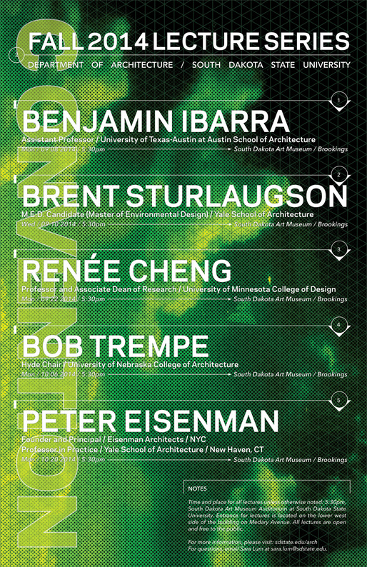 "Fall 2014 ""Convention"" Lecture Series at the South Dakota State University Department of Architecture. Image courtesy of Sara Lum."