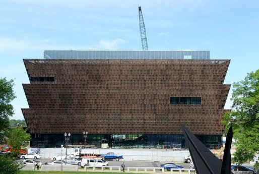 Slowly coming together: The Smithsonian's new National Museum of African American History and Culture in Washington D.C. was designed by team Freelon Adjaye Bond in association with SmithGroup. (Photo: Brendan McCabe; Image via smithsonianmag.com)
